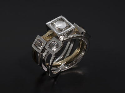 Platinum and 18kt Yellow Gold Cross Over Design Dress Ring with Round Brilliant Cut Diamonds 1.81ct Total