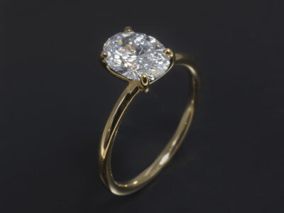 18kt Yellow Gold Delicate Claw Set Design. Oval Cut Lab Grown Diamond, 1.01ct. F Colour, VS Clarity. Excellent Polish, Very Good Symmetry.