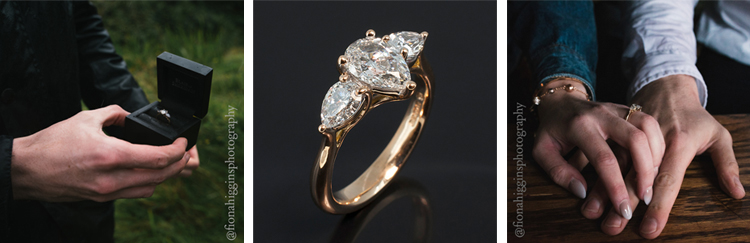 Red gold teamed with a trilogy of pear shaped diamonds were selected for this beautiful engagement ring design