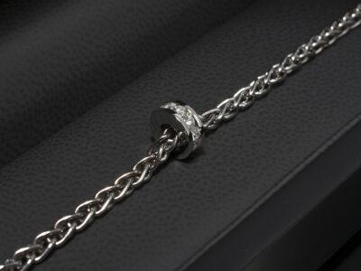 18kt White Gold Channel Set Circular Design Diamond Charm Bracelet, Round Brilliant Cut Diamonds 0.44ct Total on a Spiga Chain