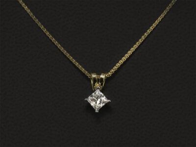 18kt Yellow & White Gold Claw Set Diamond Pendant, Princess Cut Diamond 0.50ct, D Colour, Vs1 Clarity