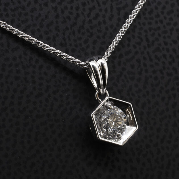 Hexagonal Pendant Claw Set 0.33ct Round Brilliant Cut Diamond in 18kt White Gold on 18 Inch Trace Chain