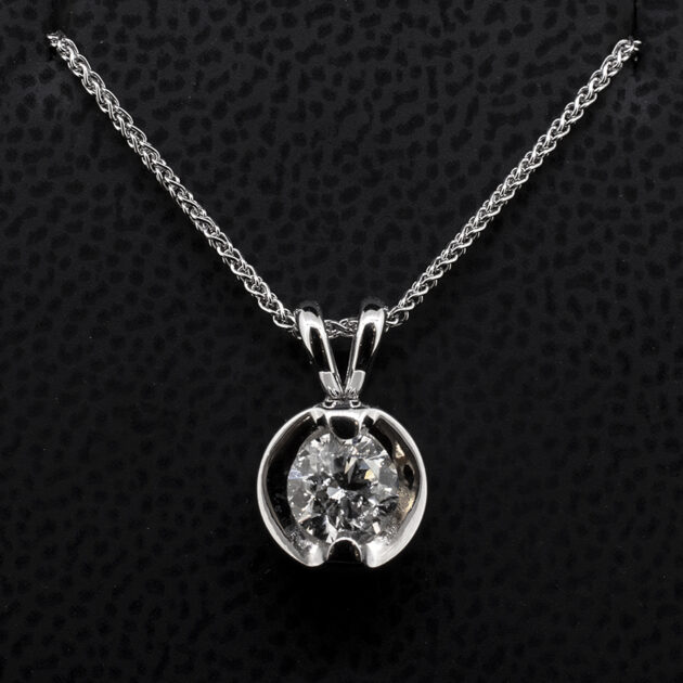 18kt White Gold Claw Set 0.75ct Diamond Pendant on an 18 Inch Chain