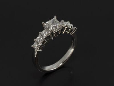 Princess cut diamond engagement ring, white gold claw set 7 stone design with lab grown diamond centre stone