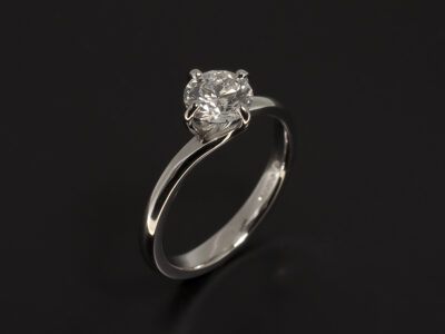 Platinum 4 Claw Twist Design with Lab Grown Round Brilliant Cut Diamond E Colour SI1 Clarity EXEXEX