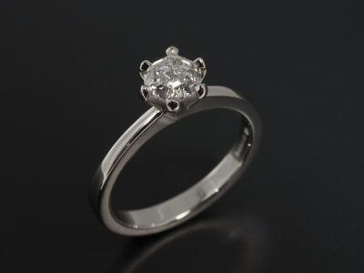 Platinum 6 Claw Solitaire Design with Lab Grown Hexagon Cut Diamond 0.84ct E Colour VS2 Clarity