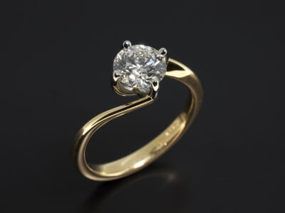 Platinum and 18kt Yellow Gold 4 Claw Set Twist Design with Lab Grown Round Brilliant Cut Diamond 1.02ct F Colour VS2 Clarity IDEXEX