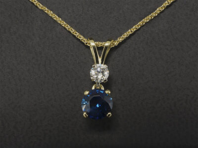 18kt Yellow Gold Claw Set Sapphire and Diamond Pendant, Round Brilliant Cut Sapphire 1.01ct and Diamond 0.20ct F Colour VS Clarity Min, Double Bale Detail