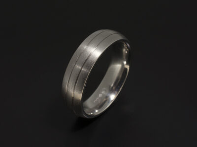 Gent's Court Shaped Wedding Ring in Platinum with Double Grooved Line Detail and Brushed Finish