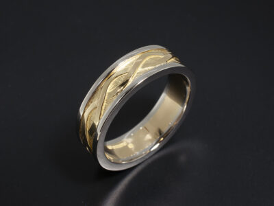 Platinum and 18kt Yellow Gold Celtic Design Gent's Wedding Ring