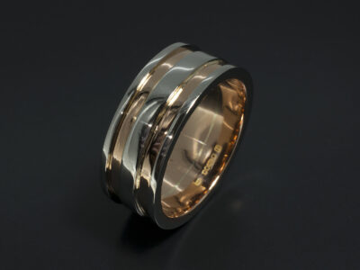 Two Tone Gent's Wedding Ring in Platinum and 18kt Rose Gold with Channelled Detail
