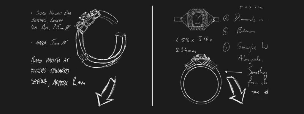 bespoke ring sketches by Blair and Sheridan