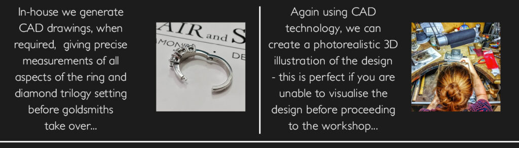 hinged ring for arthritic hands and CAD graphic of bespoke ring
