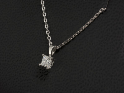 18kt White Gold Claw Set Solitaire Diamond Pendant, Princess Cut Diamond 0.46ct. D Colour SI1 Clarity 18kt, 16-18 Inch Angled Filed Trace 40 Gauge