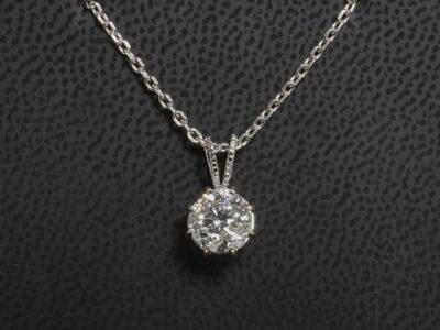 18kt White Gold Claw Set Solitaire Diamond Pendant, Round Brilliant Cut Lab Grown Diamond 1.50ct. D Colour VS2 Clarity, Split Millgrain Bale