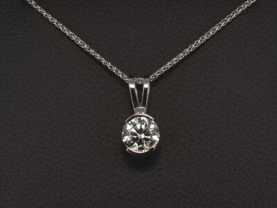 18kt White Gold Part Rub over Solitaire Diamond Pendant, Round Brilliant Cut Diamond 1.53ct. I Colour, SI1 Clarity