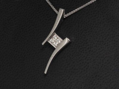 9kt White Gold Pavé Set Twist Design Diamond Pendant, Round Brilliant Cut Diamonds 0.11ct (4)