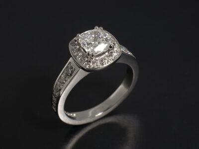 Ladies Diamond Halo Engagement Ring, Platinum Claw and Pavé Set Design, Cushion Cut Lab Grown Diamond 0.93ct E Colour VS1 Clarity, Round Brilliant Cut Diamonds 0.50ct Total, Pave Set Halo and Shoulders
