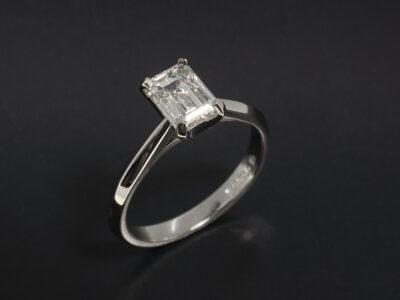 Ladies Diamond Solitaire Engagement Ring, Platinum 4 Claw Design, Emerald Cut Lab Grown Diamond 1.31ct F Colour VS2 Clarity Ex Polish Ex Symmetry, Knife Edged Band Detail