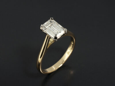 Ladies Diamond Solitaire Engagement Ring, Platinum and 18kt Yellow Gold 4 Claw Set Design, Emerald Cut Diamond 1.51ct H Colour VS1 Clarity