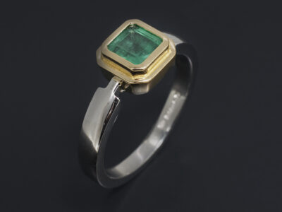 Ladies Emerald Dress Ring, Platinum and 18kt Yellow Gold Rub over Set Design, Asscher Cut Emerald, 1.04ct.