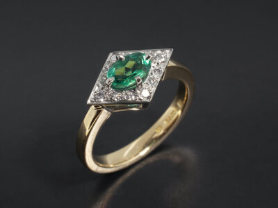 Ladies Emerald and Diamond Dress Ring, Platinum and 18kt Yellow Gold Cluster Design, Oval Cut Emerald 0.42ct, Round Brilliant Cut Diamonds 0.16ct Total
