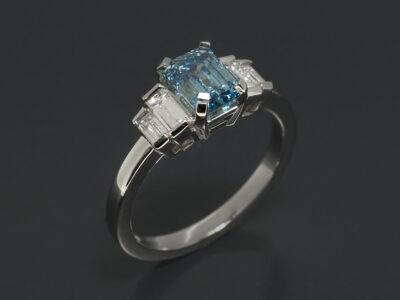 Ladies Blue Diamond Engagement Ring, Platinum Claw Set Design, Emerald Cut Lab Grown Blue Diamond 1.01ct., Baguette Cut Lab Grown Diamonds, 0.32ct (4)