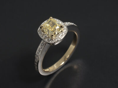Ladies Yellow Diamond Engagement Ring, Platinum and 18kt Yellow Gold Claw and Pave Set Halo Design, Cushion Cut Fancy Yellow Diamond 0.91ct, Round Brilliant Cut Diamond Halo and Shoulders 0.32ct Total