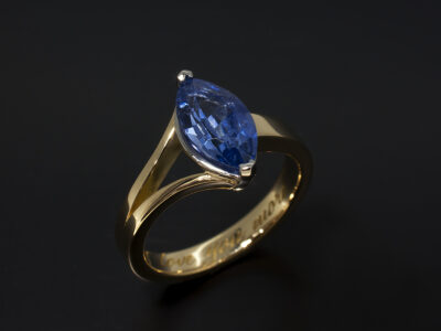 Ladies Sapphire Dress Ring, 18kt Yellow Gold and Platinum Claw Set Split Band Design, Marquise Cut Sapphire 1.76ct