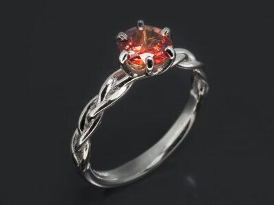 Ladies Sapphire Solitaire Ring, Platinum 6 Claw Lattice Crossover Design, Round Orange Sapphire 0.81ct.