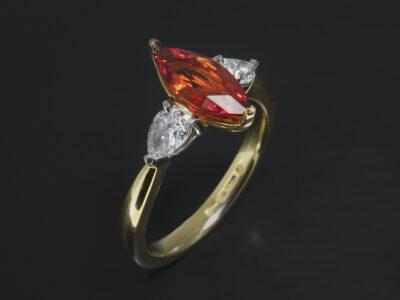 Ladies Sapphire and Diamond Trilogy Dress Ring, Yellow Gold & Platinum Claw Set Design, Marquise Cut Blood Orange Sapphire 1.41ct, Pear Cut Diamond Side Stones 0.52ct (2)