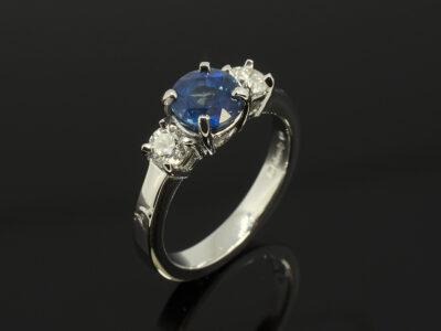 Ladies Sapphire and Diamond Trilogy Ring, Platinum 4 Claw Set, Round Brilliant Cut Sapphire 1.55ct, Round Brilliant Cut Diamonds 0.40ct Total