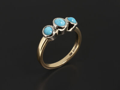 Ladies Semi Precious Trilogy Dress Ring, Platinum & 9kt Yellow Gold Rub over Set Design, Customers own Cabachon turquoise x3