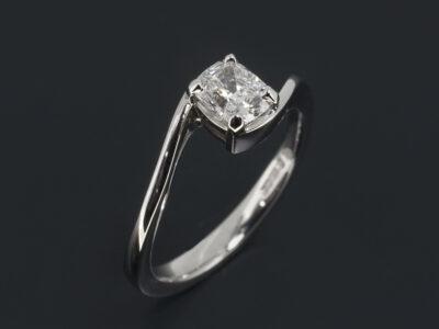 Ladies Solitaire Diamond Engagement Ring, Platinum Four Claw Set Twist Design, Cushion Cut Lab Grown Diamond, 0.51ct. F Colour, SI1 Clarity, VG Polish, VG Symmetry
