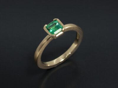 Ladies Solitaire Emerald Ring, 18kt Yellow Gold Partial Rub over Set Design, Asscher Cut Emerald 0.55ct