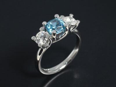 Ladies Zircon and Diamond Dress Ring, Platinum Claw Set Trilogy Design, Cushion Cut Blue Zircon 1.49ct and Round Brilliant Cut Diamonds 0.68ct Total