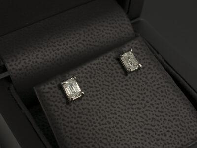 Platinum Claw Set Diamond Stud Earrings, Lab Grown Emerald Cut Diamonds 1.10ct Total D Colour VS1 Clarity