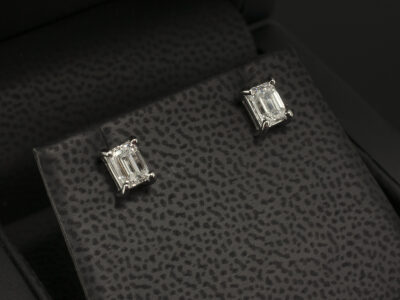 Platinum 4 Claw Set Diamond Stud Earrings, Lab Grown Emerald Cut Diamonds 1.2ct Total E Colour SI1 Clarity