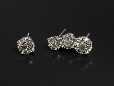 Platinum Claw Set Single and Climbing Trilogy Diamond Stud Earrings, Lab Grown Diamonds 1.09ct G VS2, 1.05ct G VS2, 0.70ct F VS1 and 0.58ct G VS2