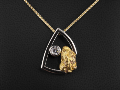 Platinum and Yellow Gold Nugget Design Rub over Set Diamond Pendant, Round Brilliant Cut 0.37ct on an 18kt Yellow Gold 18 inch Spiga Chain